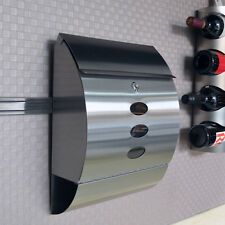 Lockable Letter Mail Post Box Wall Mounted Stainless Steel Newspaper Holder New