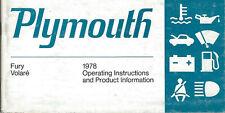 Plymouth Fury volare 1978 operators Manual Handbook manuale CHRYSLER BA