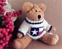 "Teddy Bear Stuffed Plush Animal Beige Jointed  8"" USA Flag Sweater Vintage Toy"
