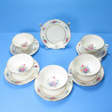 Lenox Rose China J300 5 Footed Cups 6 Saucers Floral Nice Condition USA