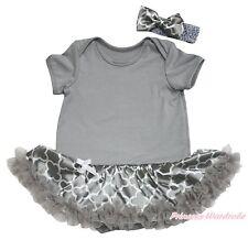 Plain Gray Bodysuit Girls Quatrefoil Clover Baby Dress Romper Outfit Set NB-18M