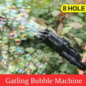 2 IN 1 Kids Automatic Gatling Bubble Gun Toys Summer Soap Water Bubble Machine