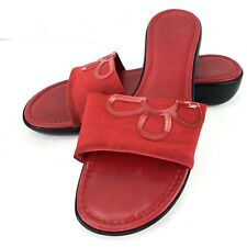 Italian Shoemakers Red Satin Fabric Flower Wedge Size 7.5 Slides Sandals