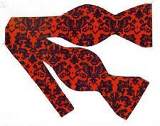 (1) BOW TIE - PETITE DAMASK -BLACK FLORAL DAMASK ON DARK RED