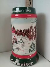 1991 Budweiser Clydesdales Horses Holiday Beer Stein Collectors Series Christmas