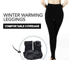 Fleece Lined Legging Pants Stretch Bamboo Comfy-AU Black Warm One Size 16-22