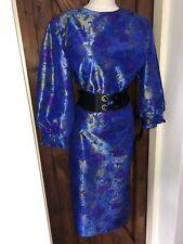 Striking Handmade Vintage Shiny Swishy Noisy Dress Size 16,18 Bust 47ins
