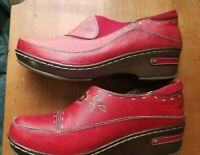 """L'Artiste Women""""s Shoes Spring Step Burbank-R Red 8.5 39 Leather Clog Beautiful"""