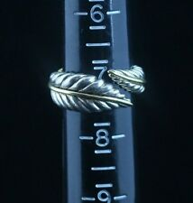 Tiffany & Co Sterling Silver 18K Yellow Gold Feather Leaf Ring 7 1/2 Adjustable