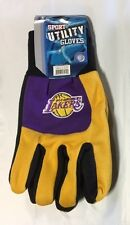 Pair Los Angeles Lakers Gloves 2 Tone Color Block Garden Sports Utility Yellow