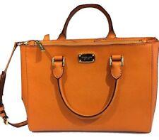 Michael Kors KELLEN Saffiano Leather Medium Satchel Handbag Tangerine/Orange Nwt