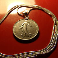 """Boho French Franc Coin Bezel Pendant on a 30"""" 925 Sterling Silver Snake Chain"""