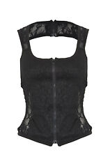 Jaw Breaker Gothic Lolita Steampunk Victorian Lace Up Back Black Bodice Top