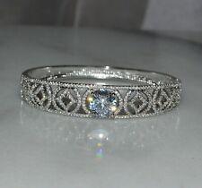 18k/18ct White Gold Filled Tennis Bangle Bracelet Made With Swarovski Crystal UK