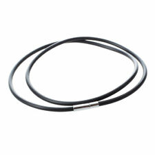 Collar de caucho negro de cierre de acero inoxidable con 3 mm - 22 pulgadas P4L7