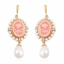 FAUX PEARL GENUINE AUSTRIAN CRYSTAL GOLD ION STAINLESS STEEL CAMEO EARRINGS
