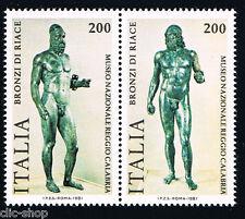 ITALIA 2 FRANCOBOLLI BRONZI DI RIACE MUSEO 1981 nuovo**