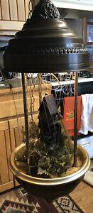 "RAIN LAMP Lg 36"" Grist Water Wheel Mill oil hanging lamp BEAUTIFUL WORKS Vintage"