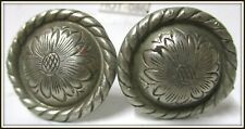 Pair of Vintage Silver Hand Engraved Screw in Saddle Conchas