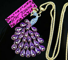 Betsey Johnson Purple Enamel Crystal peacock Pendant Sweater Chain Necklace