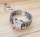 Square Crystal 925 Sterling Silver Adjustable Band Thumb Ring Women Jewellery Uk