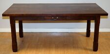 STUNNING HEAVY WALNUT RUSTIC FARMHOUSE TABLE SITS 6-8 WITH 2 DRAWERS