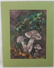FRANKIE BOWEN Painting on fabric Mushrooms in Grass Signed Original 10 1/2x7 1/2