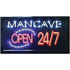 Man Cave Open 24/7 LED Hanging Sign- Light Up Your Bar Bedroom Garage or Den, Ne