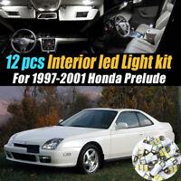 12Pc Super White Car Interior LED Light Bulb Kit for 1997-2001 Honda Prelude
