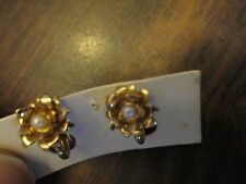 Gold Tone Flower with Faux Pearl Clip Earrings on card