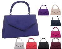 Ladies Fx Suede Clutch Bag Top Handle Evening Bag Party Box Handbag Purse KW304