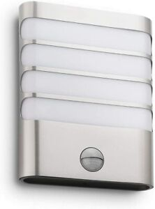 Philips LED Stainless Steel Outdoor Modern Slotted Rectangular Wall PIR SECURITY