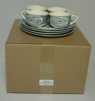 Royal USA CURRIER & IVES (BLUE) Snack Sets SET OF FOUR Mint in BOX    VERY RARE!