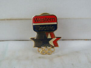 1984 Summer Olympic Games Sponsor Pin - Western Electric - Celluloid Pin