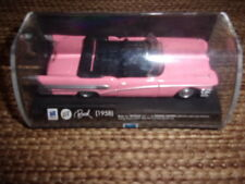 vintage new-ray toys co pink buick 1958  die cast car in display case