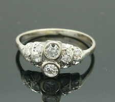 Antique 18ct White Gold Diamond(0.45ct) Cluster Ring (Size O) 8mm Wide
