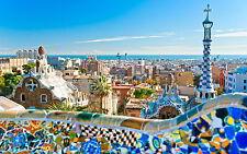 A0 SIZE barcelona spain  CANVAS PRINT cityscape ART 841 x 1189 mm