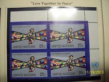 United Nations Stamps 1978 Live Together In Peace 25c Block Of 4 Mint