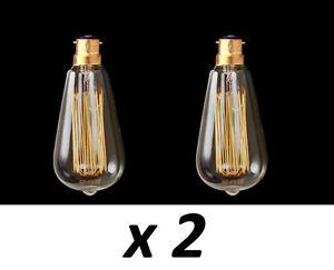 Box 2 BC Filament bulb vintage Edison Style squirrel cage lamp 60w