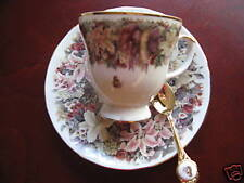 LENA LIU - CUP, SAUCER & SPOON - FLORAL GREETINGS COLL.