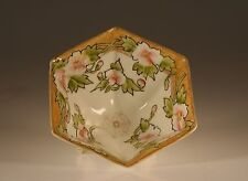 Nippon Handpainted Hexagonal Pink Peonies Three Footed  Bowl, Japan