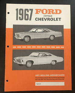 1967 Ford dealer training lit Ford vs Chevrolet Impala Galaxie LTD Caprice NOS