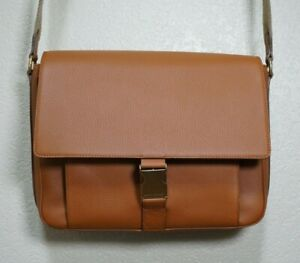 $1250 | USED ONCE RALPH LAUREN PURPLE LABEL LEATHER MESSENGER BRIEFCASE BROWN