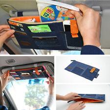 Universal Car Sun Visor Shield Board Organize Blue Storage Holder Card Phone Bag