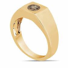 0.47 Carat Champagne Brown Diamond Solitaire Men's Ring 14K Yellow Gold