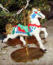 Carousel Horse, SNOW (XPR9719, Hallmark Cards) 1989 Holiday Ornament