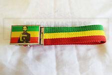 Haile Selassie Cinturón Rojo Oro Verde raíces Rasta Reggae Rastafari