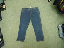"Cherokee Cropped Jeans Size 14 Leg 22"" Faded Dark Blue Ladies Jeans"