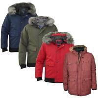 Mens Jacket Heavy Padded Detachable Fur Trim Puffer Zipper Zip Up Winter Coat