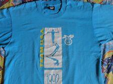 RARE True Vintage Turquoise Blue 50-50 1992 Olympics TEAM USA 2 SIDED T-Shirt XL